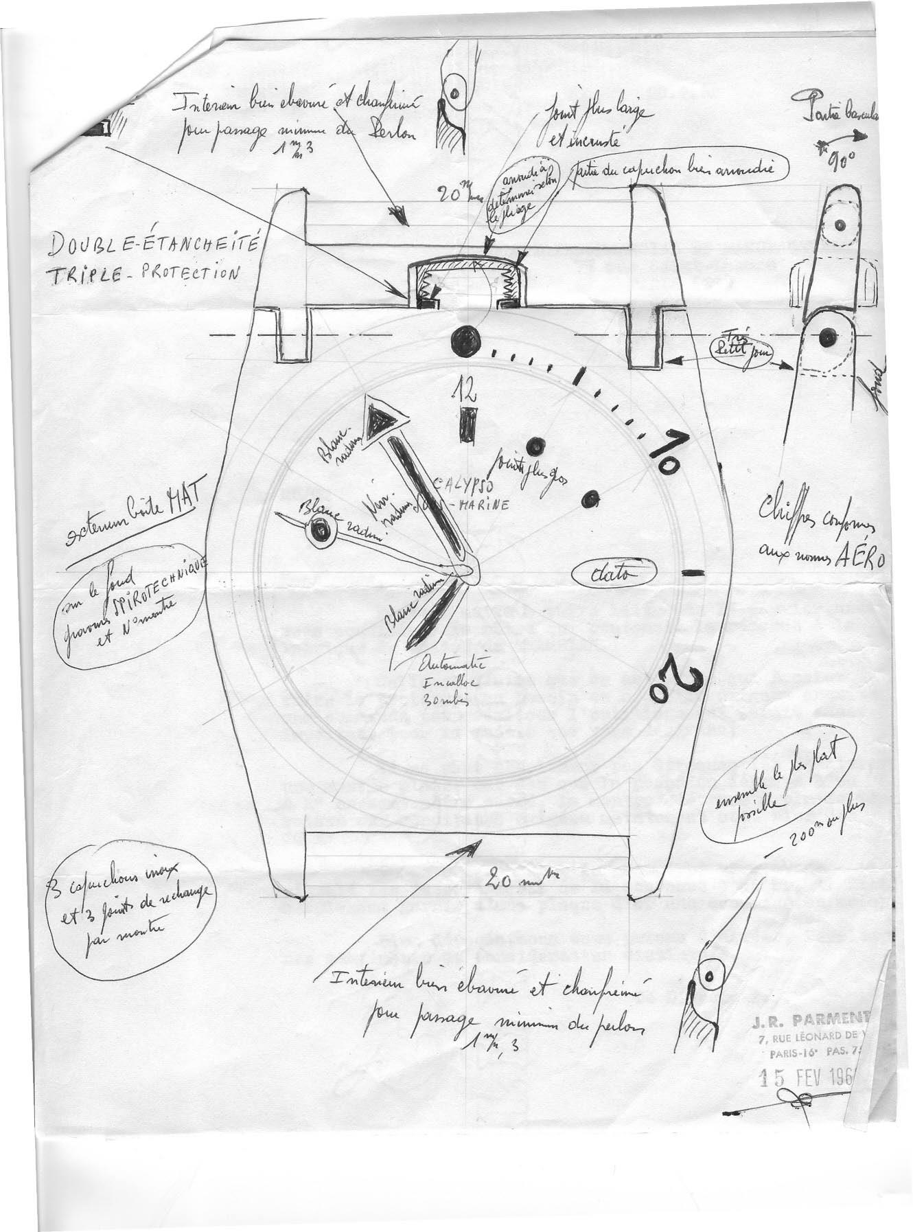 """Premiers schéma de la Triton Spirotechnique signé par Jean René Parmentier. Notons qu'au départ cette montre devait s'appeler """"Calypso Sous Marine"""""""
