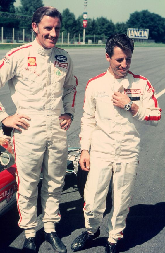 Graham Hill and Mario Andretti- Team Lotus Monza 1968 (Peter Darley)