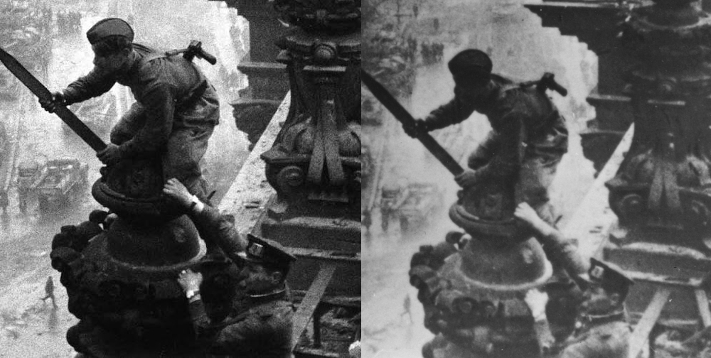 A gauche un tirage récent de la photo non retouchée, à droite un tirage de l'époque, sur laquelle la montre du poignet droit a été effacée
