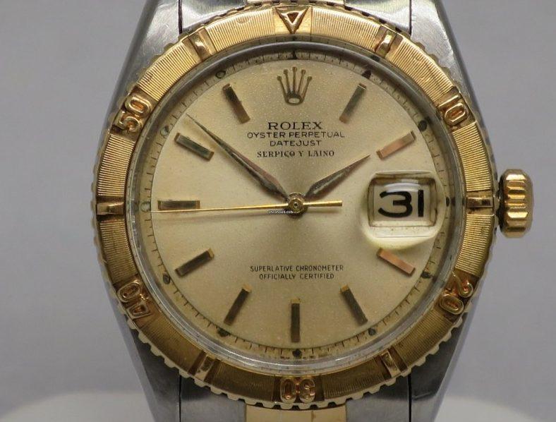"Rolex Datejust 1625 avec lunette en ""Thuderbird"" en or de 1964. Photo : cavalieristore.com"
