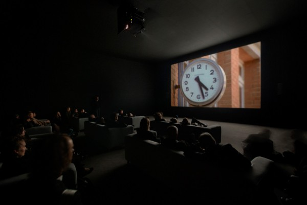 Christian Marclay, installation view of The Clock, 2010; single-channel video with sound; twenty-four hours; White Cube Mason's Yard, London, October 15–November 13, 2010; courtesy Paula Cooper Gallery, New York, and White Cube, London; photo: Todd-White Photography; © Christian Marclay