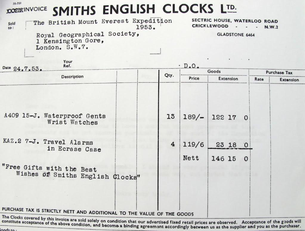 Facture des 13 Smiths A.409 remises gracieusement à l'expédition de 1953