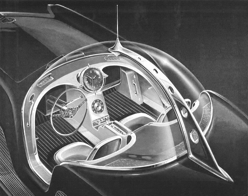 Croquis du tableau de bord et de l'habitacle de l'Astra Gnome Time and Space Car de 1956