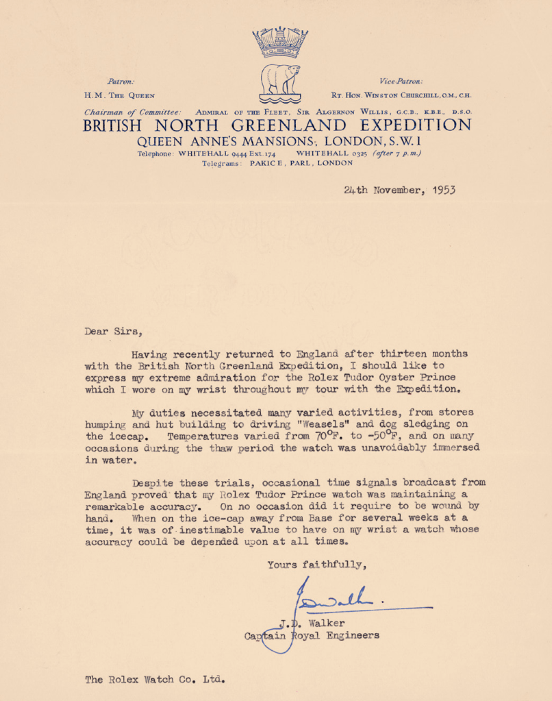 letter to tudor from british north greenland expedition