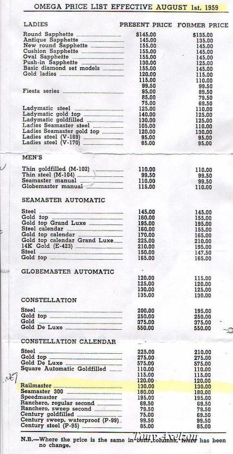 Omega pricelist 1959