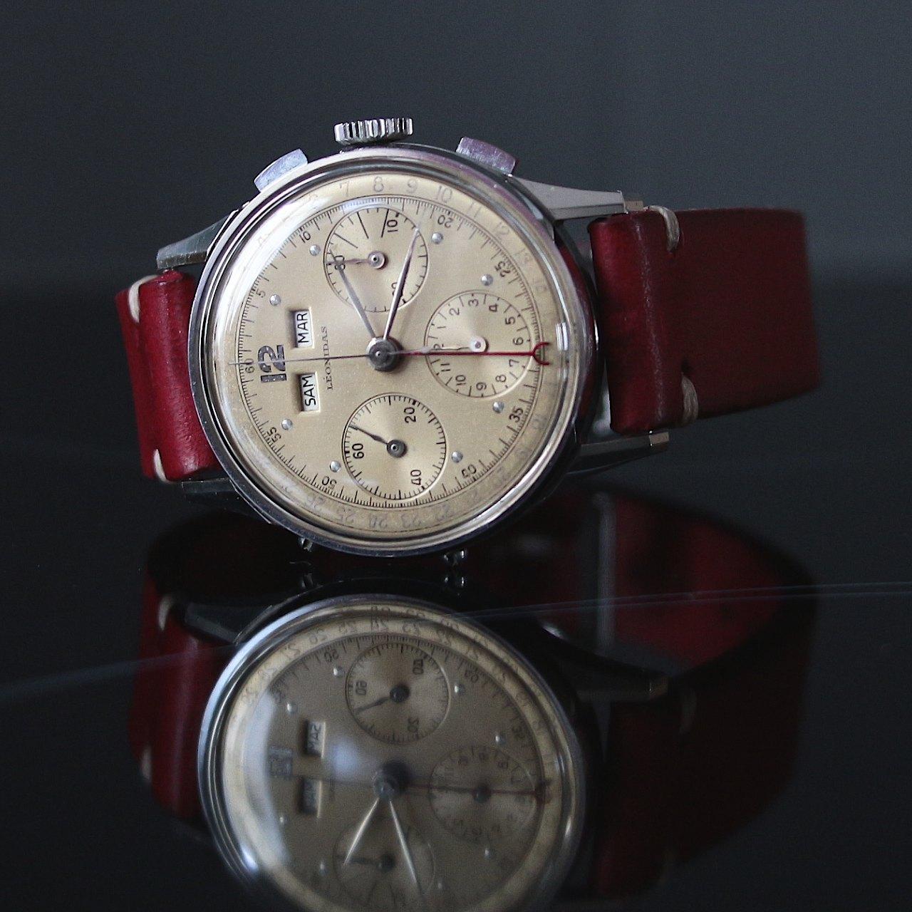 LEONIDAS, chronographe Datora, Valjoux 72C, vers 1955.